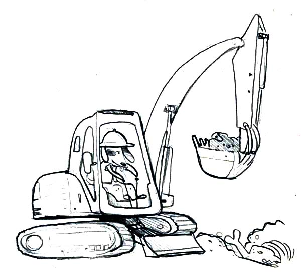 600x547 Dog Operating A Digger Coloring Page Color Luna