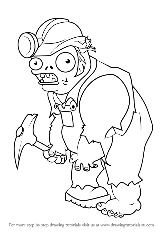 565x800 Learn How To Draw Digger Zombie From Plants Vs. Zombies (Plants Vs