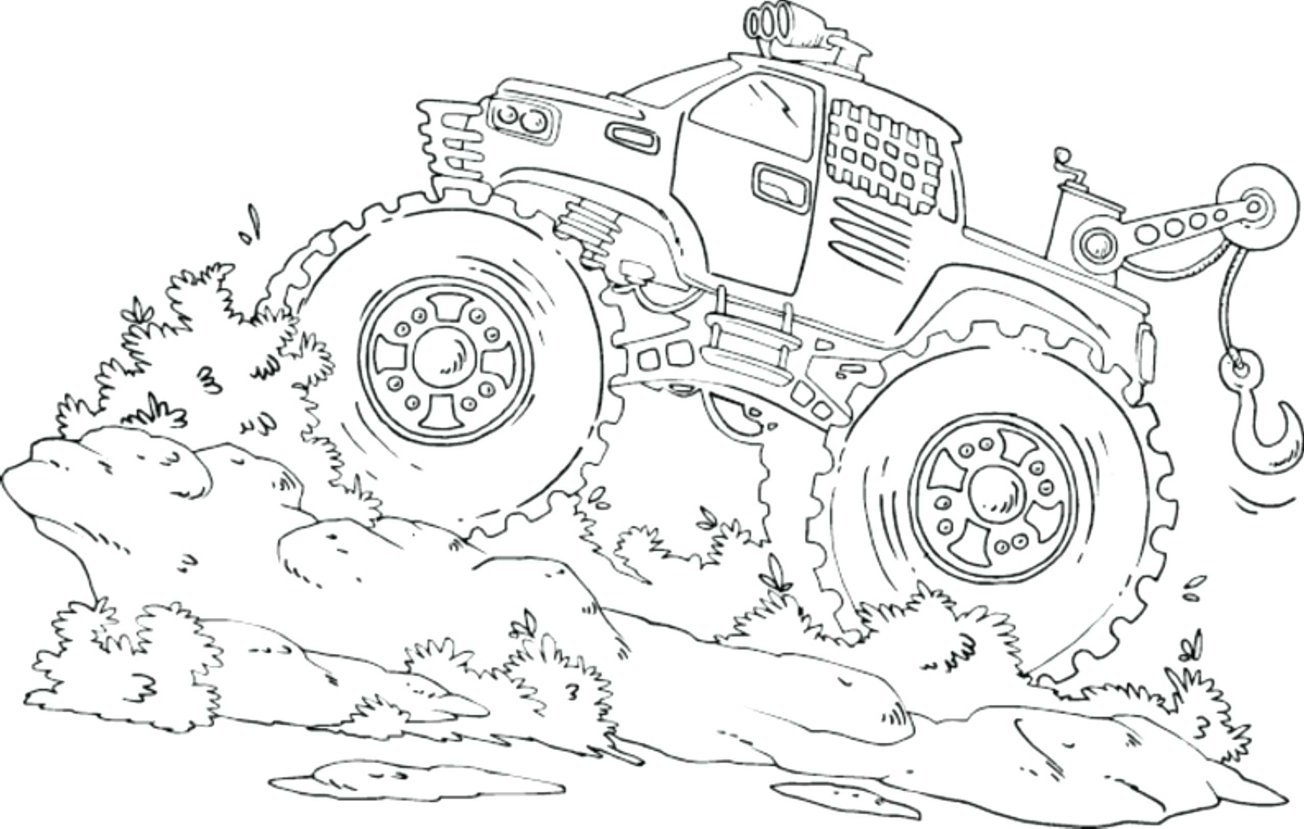 2551x1622 Monster Truck Coloring Pages Online Le Drawing Grave Digger