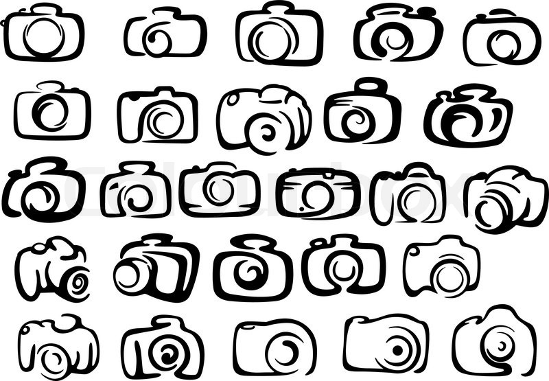 800x555 Digital And Film Camera Icons In Silhouette Style