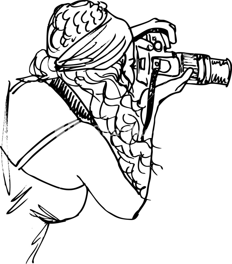 880x1000 Sketch Of Young Beautiful Woman Taking A Photo With A Digital