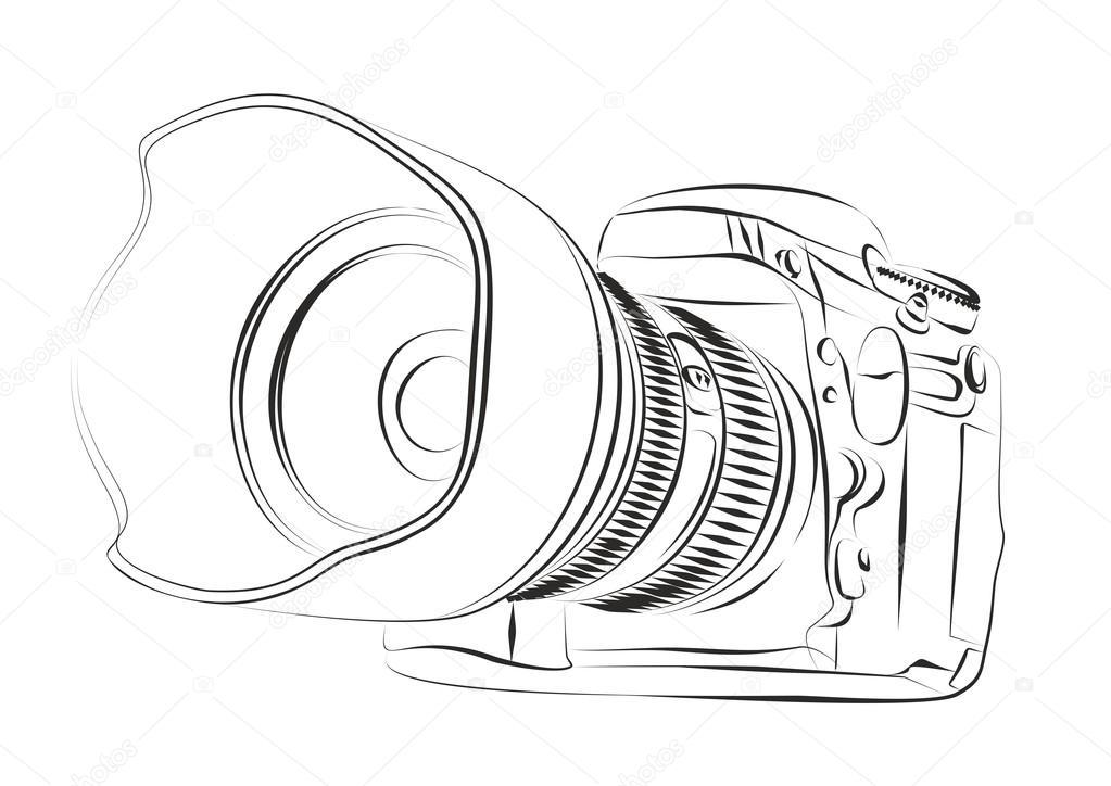 1023x724 Sketch Of Professional Camera. Stock Vector Designer