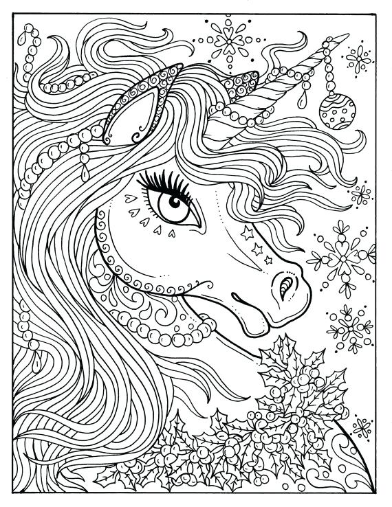 570x738 Perfect Coloring Pages Unicorn Image Page Adult Color Book Art
