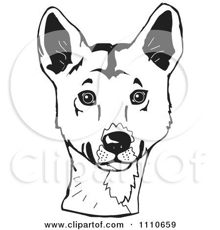 450x470 Clipart Black And White Aussie Dingo Head