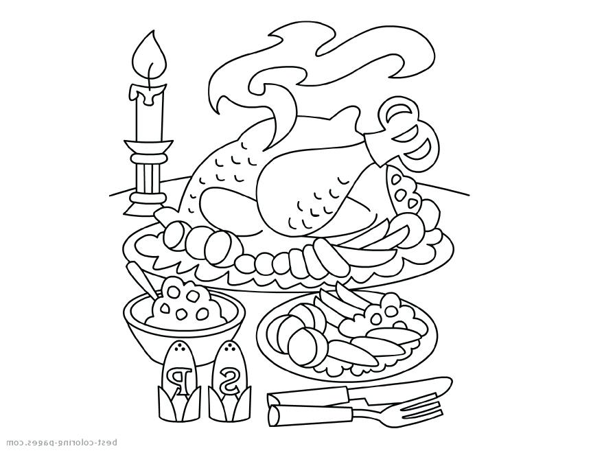 880x660 Free Thanksgiving Dinner Coloring Pages Table Black And White