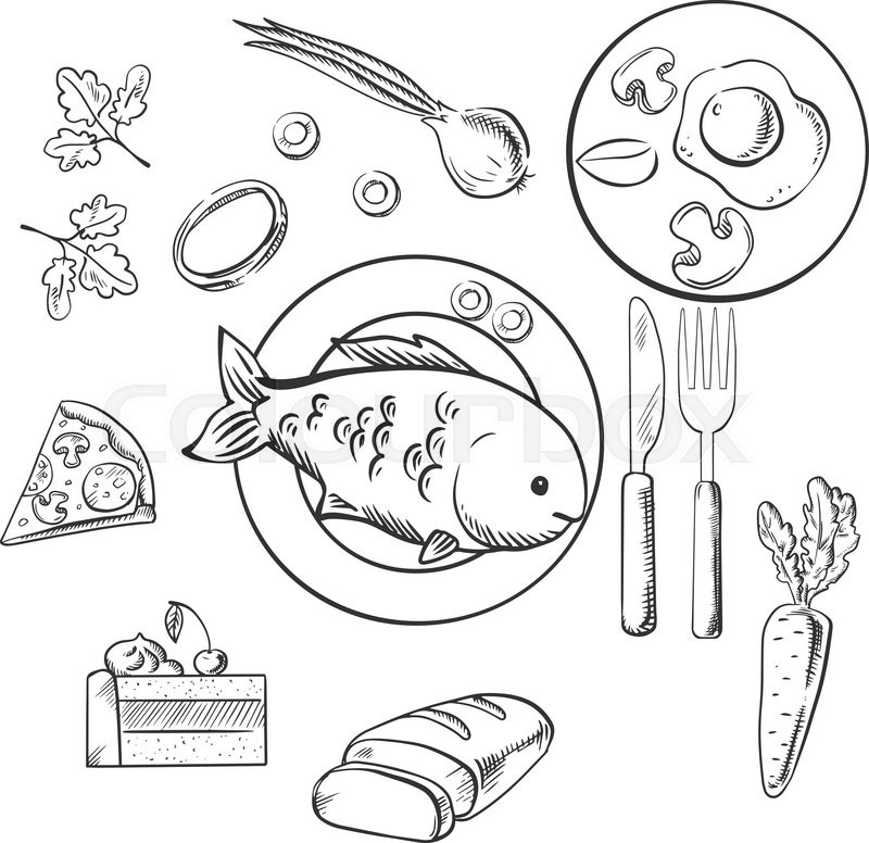 800x776 Fresh Dinner Food With Sketch Vector Icons As A Cake, Vegetables