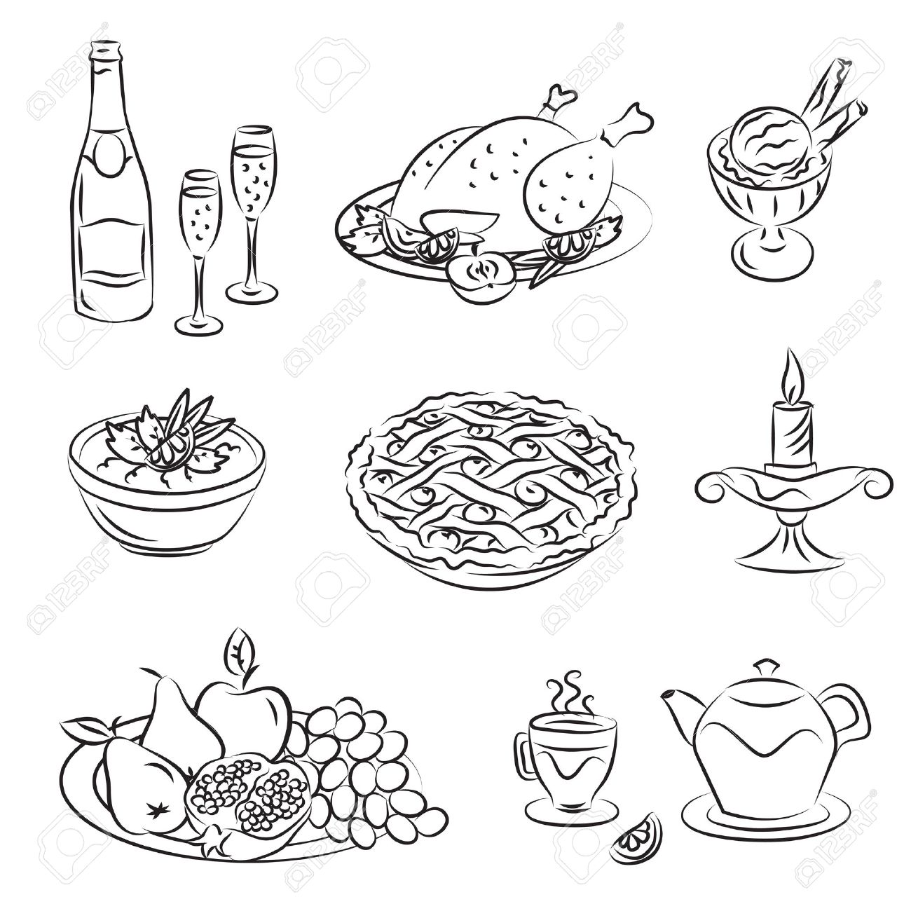 1300x1300 Holiday Family Dinner Royalty Free Cliparts, Vectors, And Stock