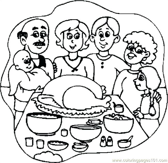 650x628 Thanksgiving Dinner Coloring Pages Thanksgiving Dinner 3 Coloring