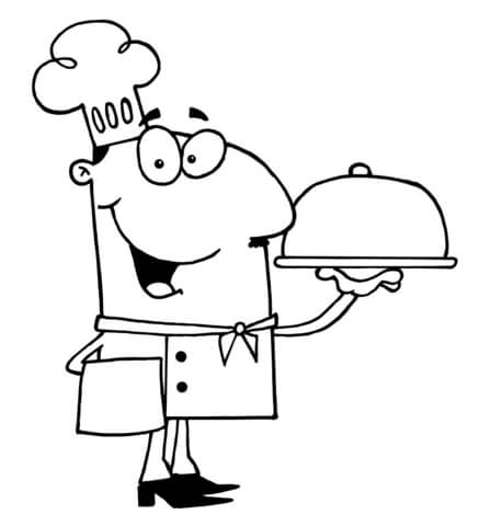 437x480 Chef Serving Dinner Coloring Page Free Printable Coloring Pages