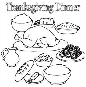 290x291 Turkey Dinner Coloring Turkey Dinner Coloring Sheet