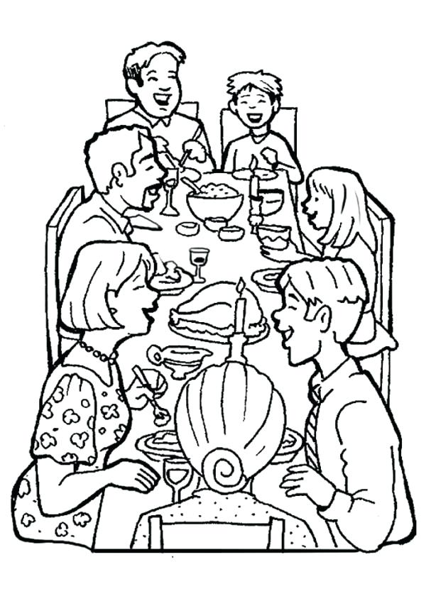 600x847 Coloring Pages Of Families Family Dinner Together Coloring Page