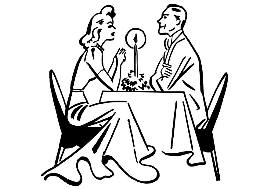 875x620 Coloring Page Dinner By Candlelight