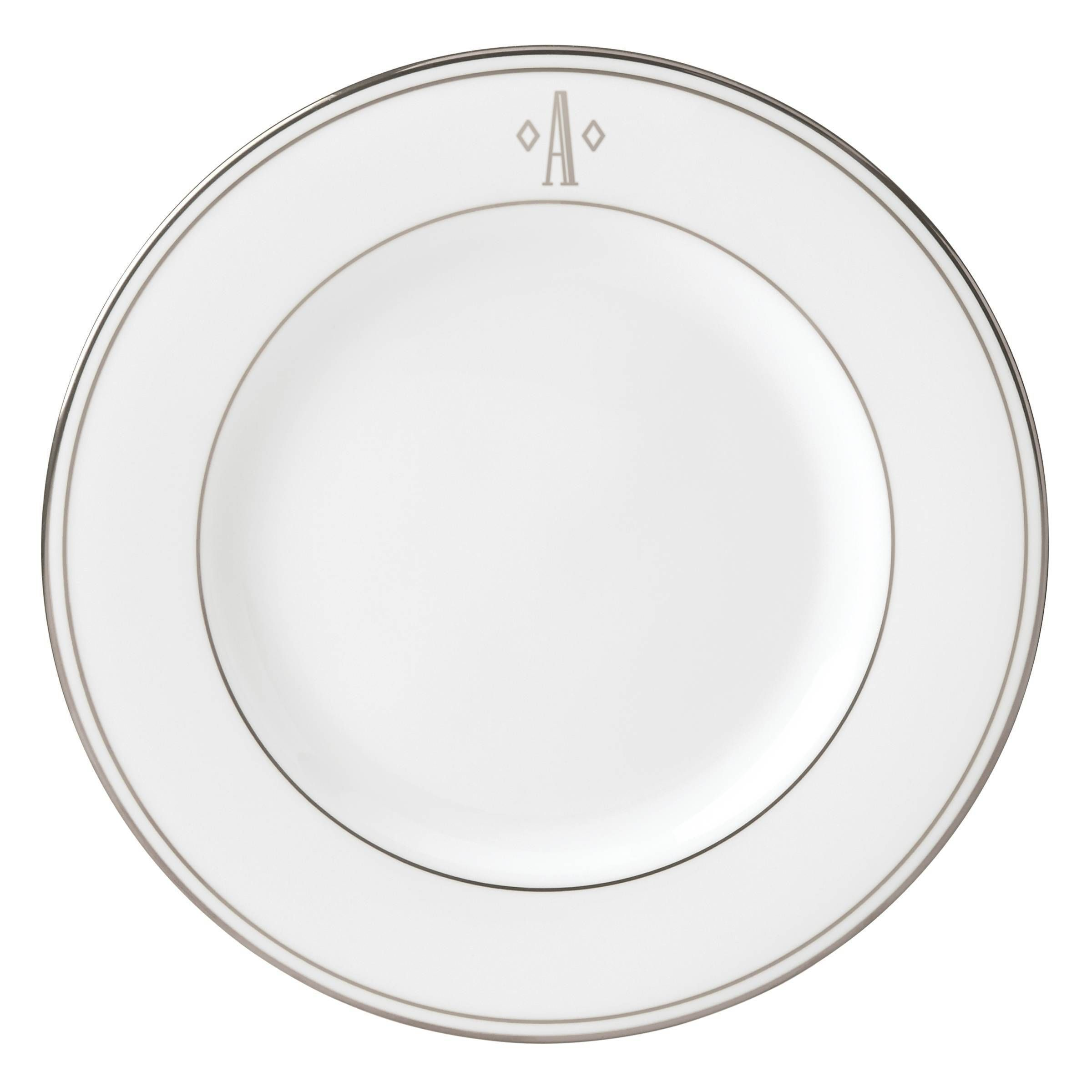 2400x2400 Lenox Federal Platinum Block Monogram Salad Plate (A), Silver