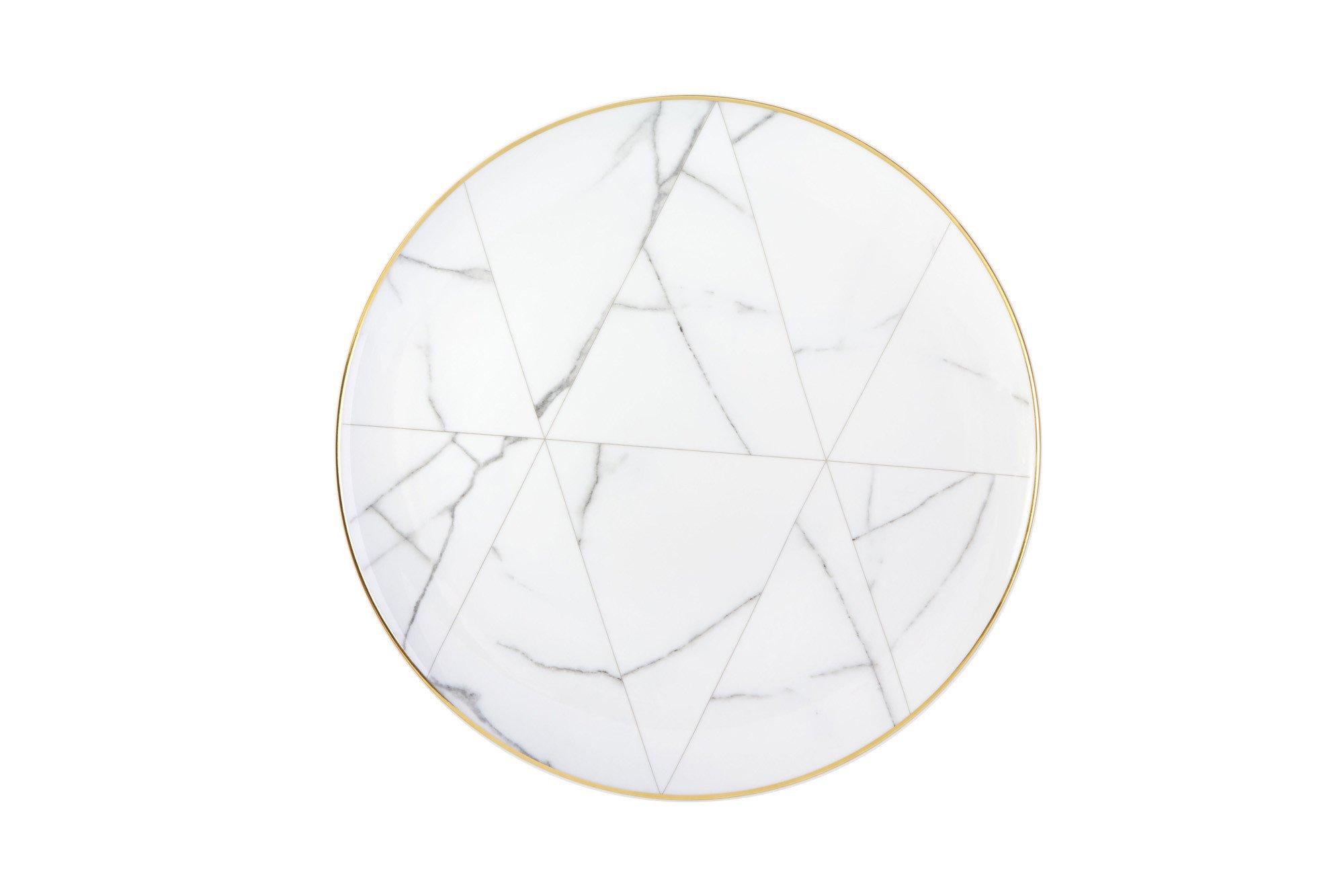 2000x1333 Vista Alegre Carrara Marble Chevron Dinner Plate Alchemy Fine Home