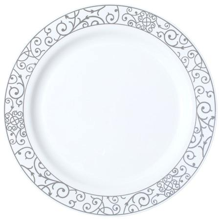 450x450 White And Silver Dinnerware Dinner Plate White With Silver Rim