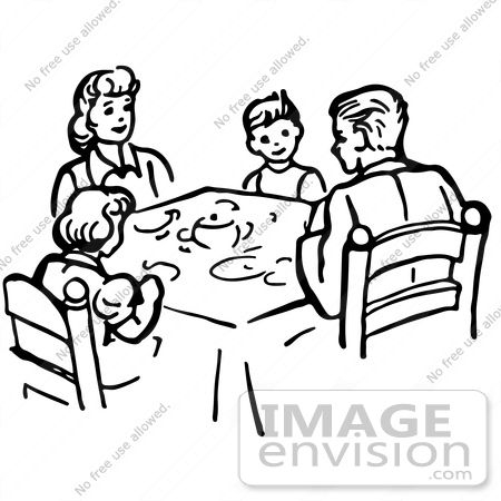 450x450 Dinner Table Clipart Black And White