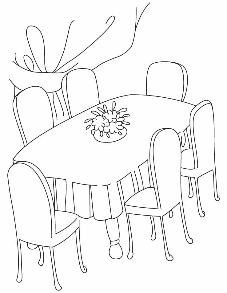 table top coloring pages | Dinner Table Drawing at GetDrawings.com | Free for ...