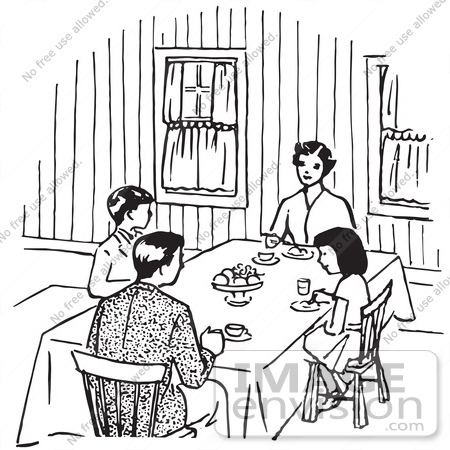450x450 Gorgeous Dining Room Table Clipart Black And White With Dinner