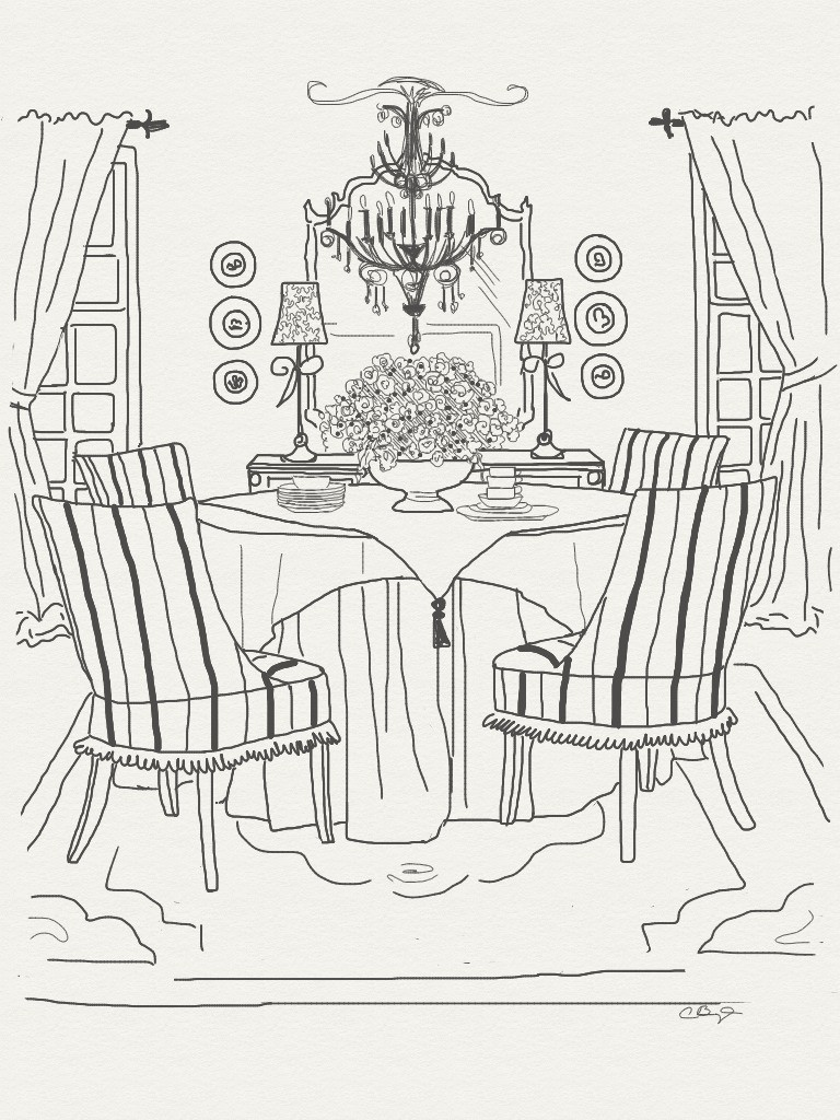 768x1024 Appealing Dining Room Sketch Dining Table Set