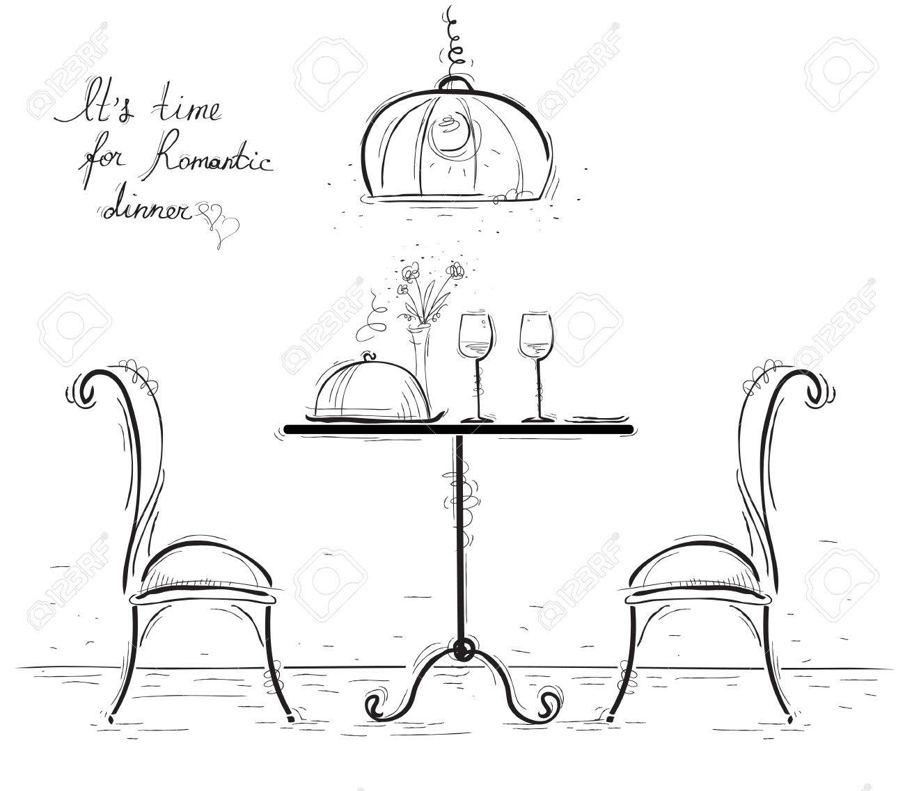 1300x1137 Romantic Dinner For Two Lovers.sketchy Illustration With Table