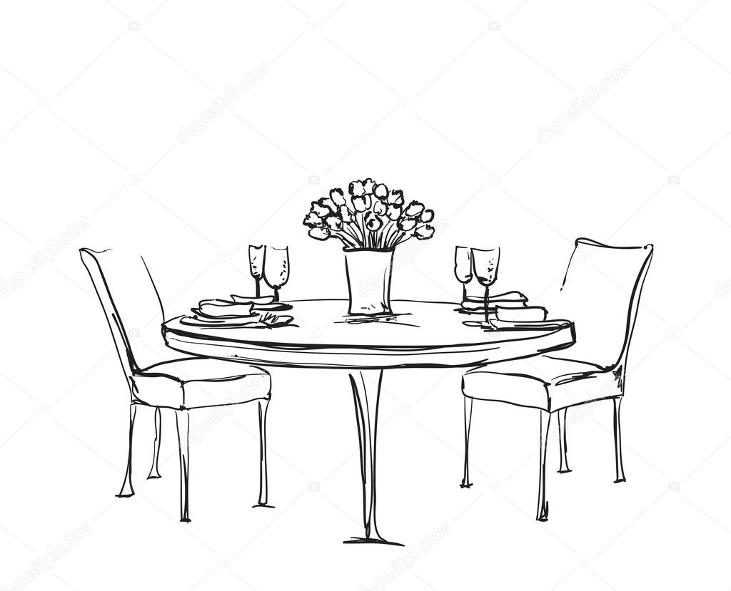 1024x829 Romantic Dinner For Two. Stock Vector Yuliia25