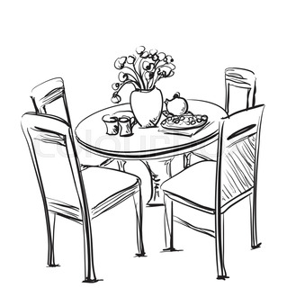 319x320 Table Setting Set. Weekend Breakfast Or Dinner. Hand Drawn Dishes