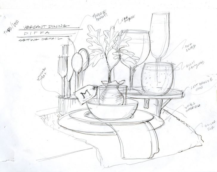 728x579 Dinner Table Drawing Biantable