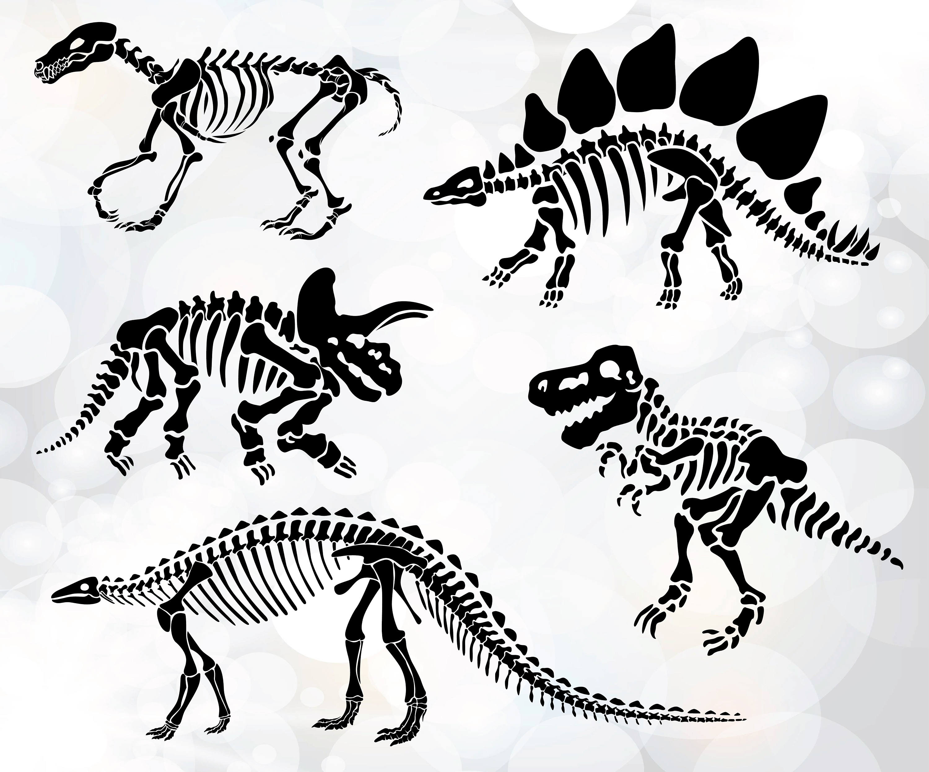 Dinosaur bone drawing at free for for Printable dinosaur skeleton template