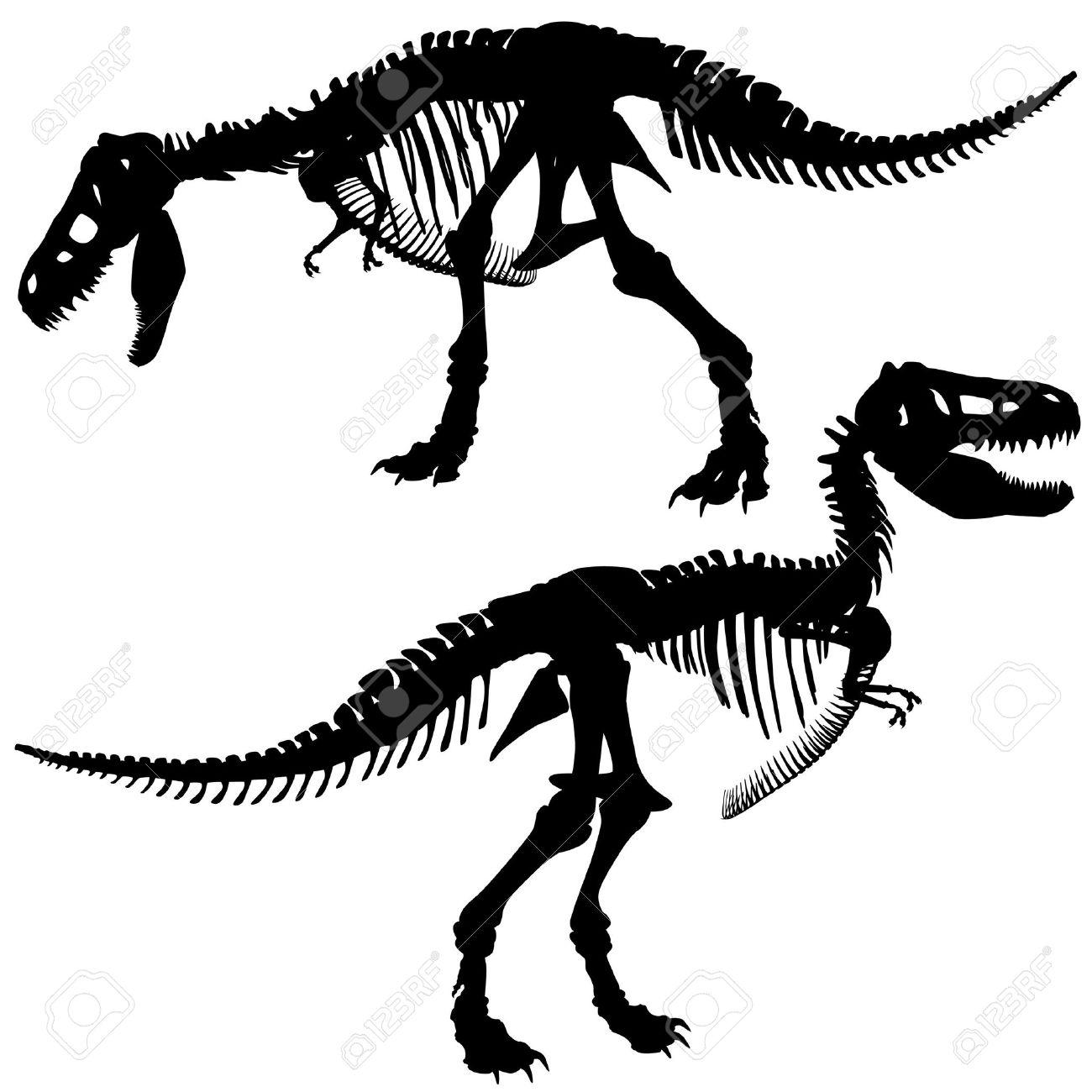 1300x1300 Editable Silhouettes Of The Skeleton Of A Tyrannosaurus Rex