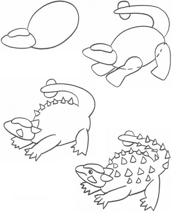 Cara menggambar dinosaurus angkylosaurus