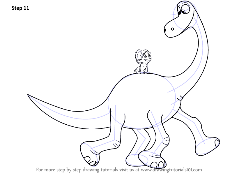 845x594 Learn How To Draw Spot Riding Arlo From The Good Dinosaur (The