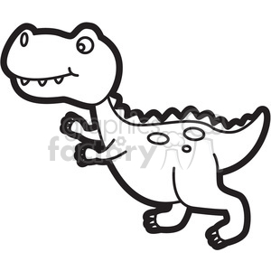 300x300 Royalty Free Trex Dinosaur Cartoon In Black And White 397940