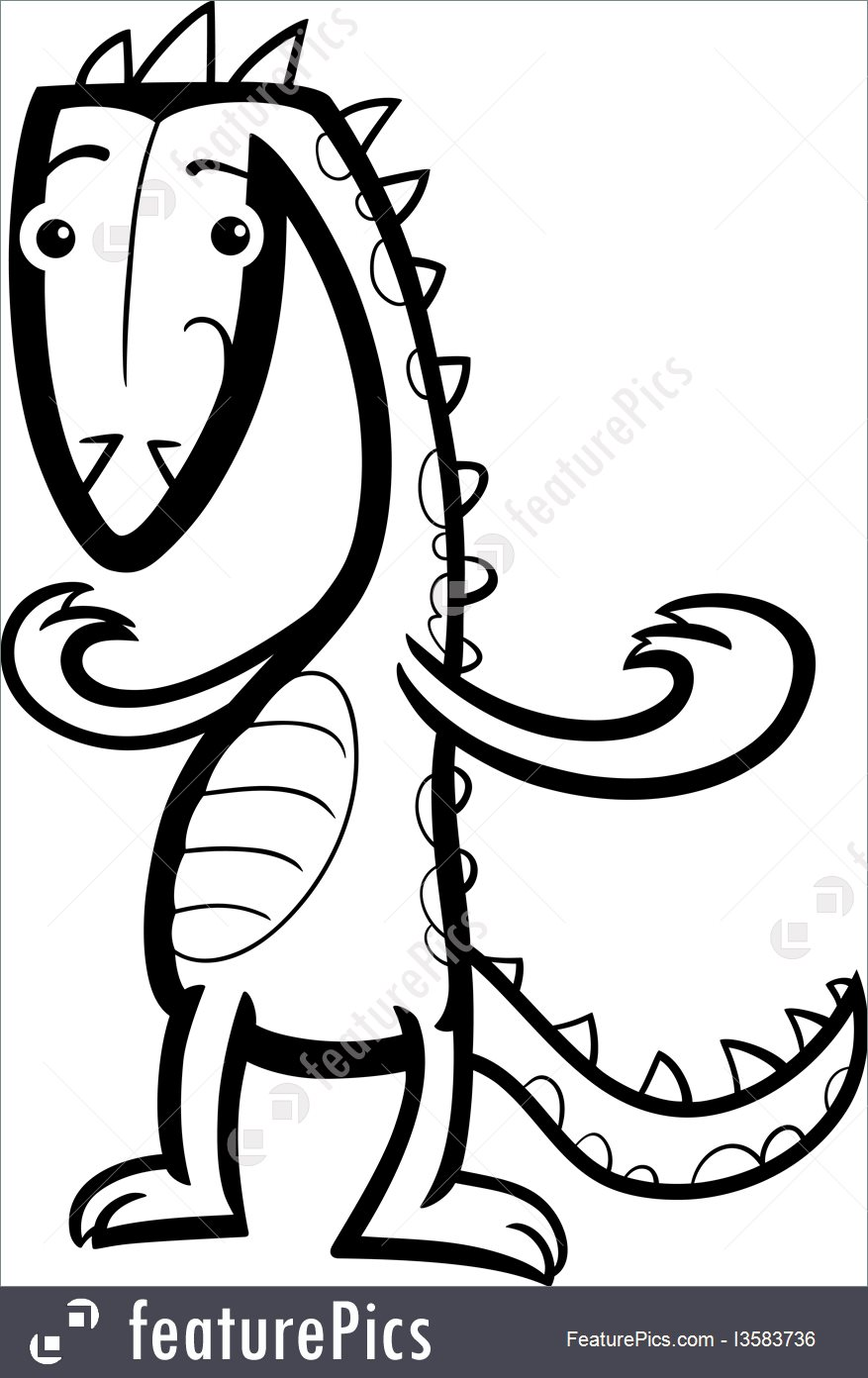 877x1392 Cartoon Lizard Or Dinosaur Coloring Page Illustration