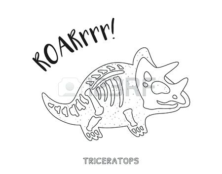 450x353 Dinosaur Bones Coloring Pages Triceratops Skeleton Outline Drawing