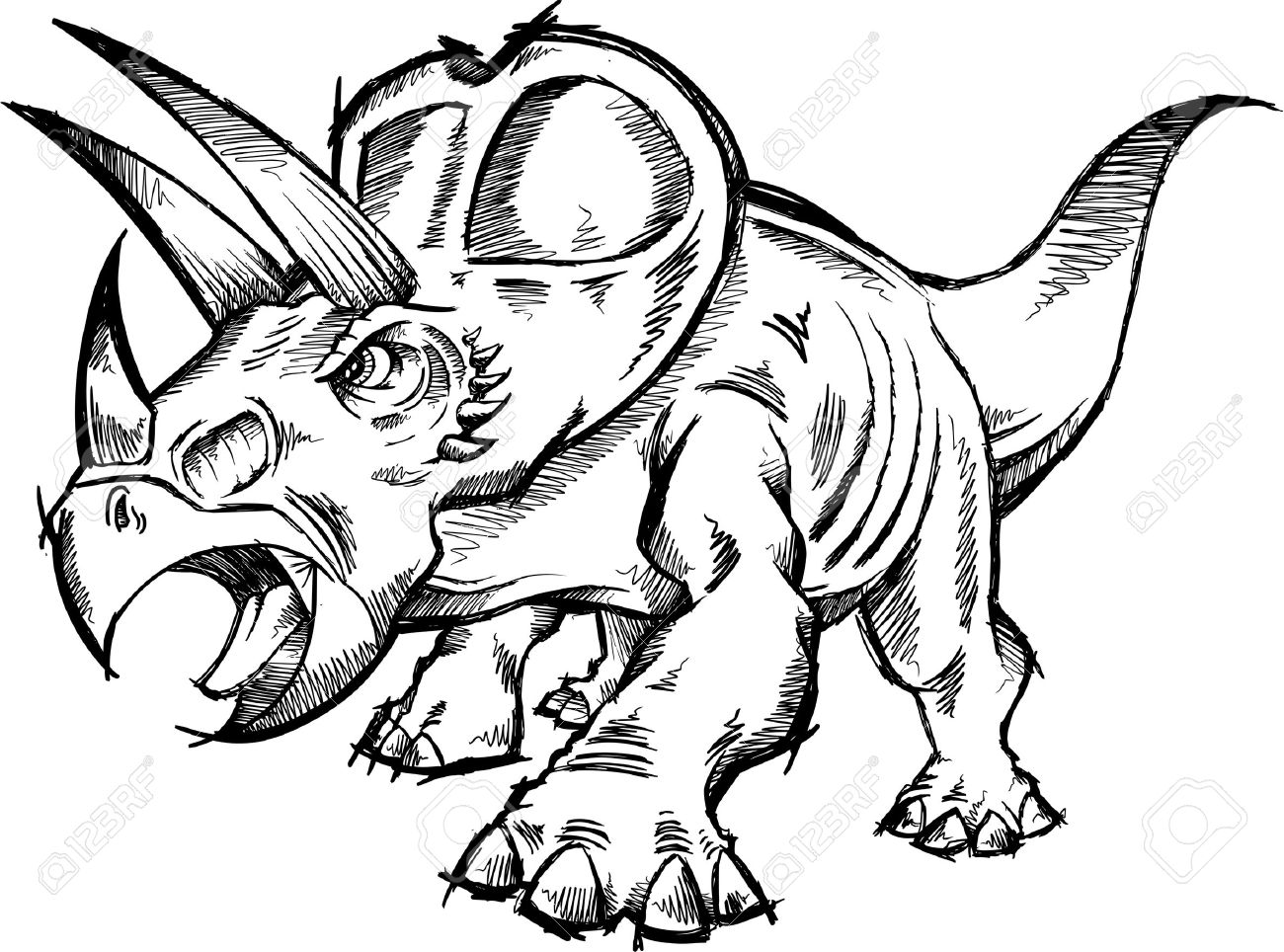 1300x964 Triceratops Dinosaur Sketch Doodle Royalty Free Cliparts, Vectors