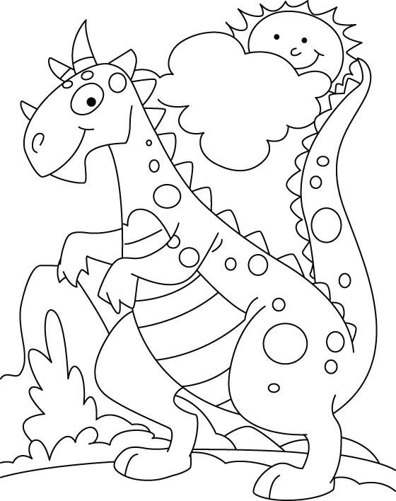 560x708 Dinosuar In Park Coloring Pages Coloringdrawingpainting