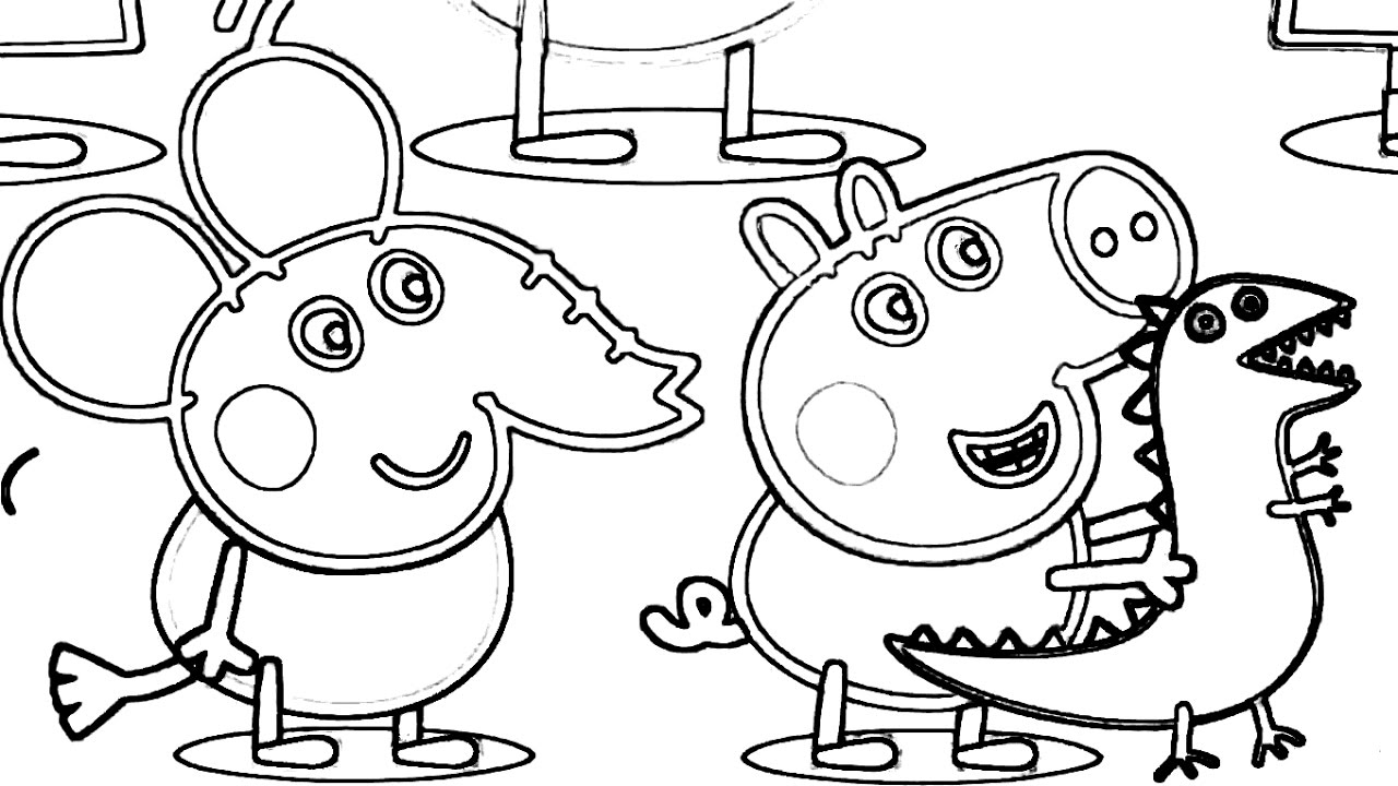 1280x720 Pepa Pig Goes To Dinosaur Zoo Coloring Book Draw For Kids Fun