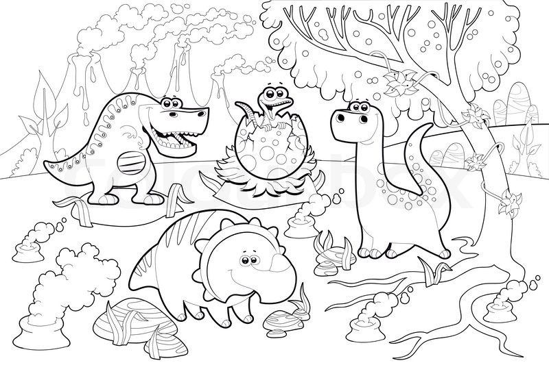800x533 Funny Dinosaurs In A Prehistoric Landscape, Black And White