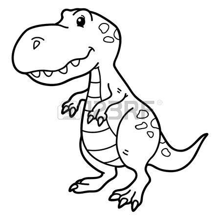 450x450 Vector Illustration Coloring Page Of Happy Cartoon Dinosaur