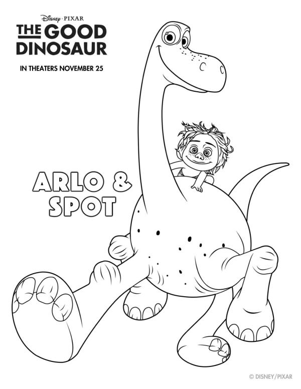 600x776 Free Printable Disney The Good Dinosaur Arlo Amp Spot Coloring Page