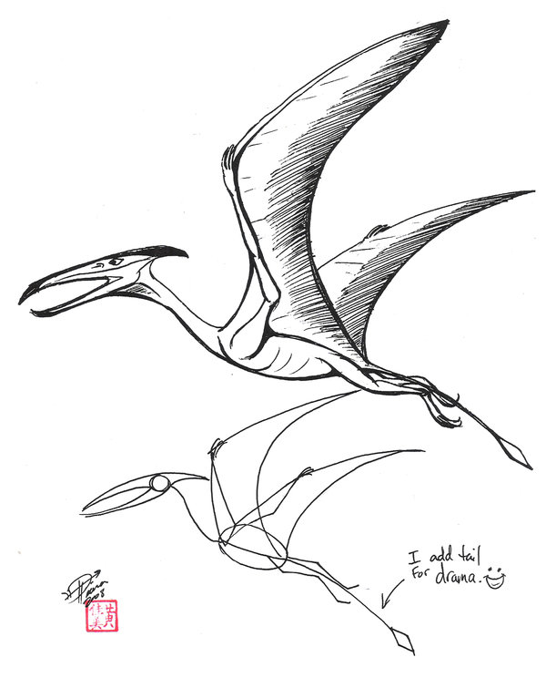 600x744 Dinosaur Pterodactyl Drawing Draw A Pterosaur By Diana Want