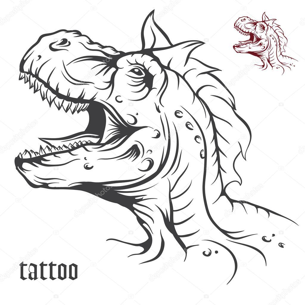 1024x1024 Sketch Of Tattoo Dinosaur. Stock Vector Osipovev