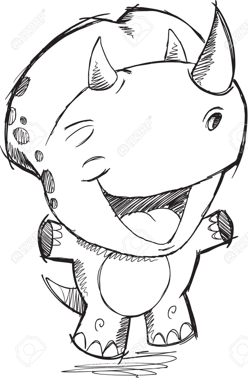 854x1300 Triceratops Dinosaur Sketch Drawing Vector Royalty Free Cliparts