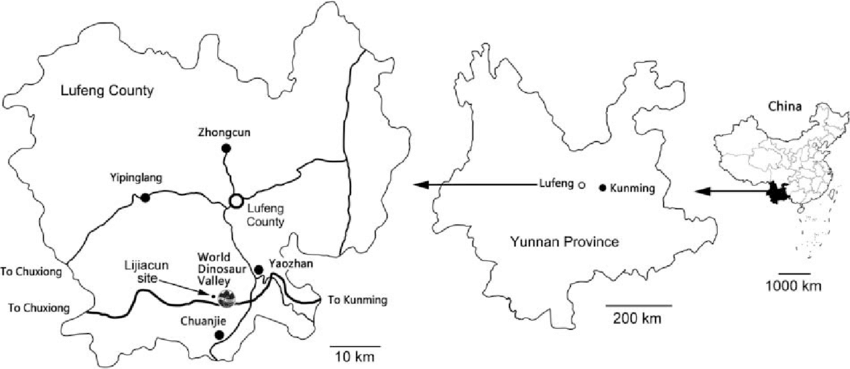 850x369 Map With Position Of The Lijiacun Dinosaur Footprint Locality.