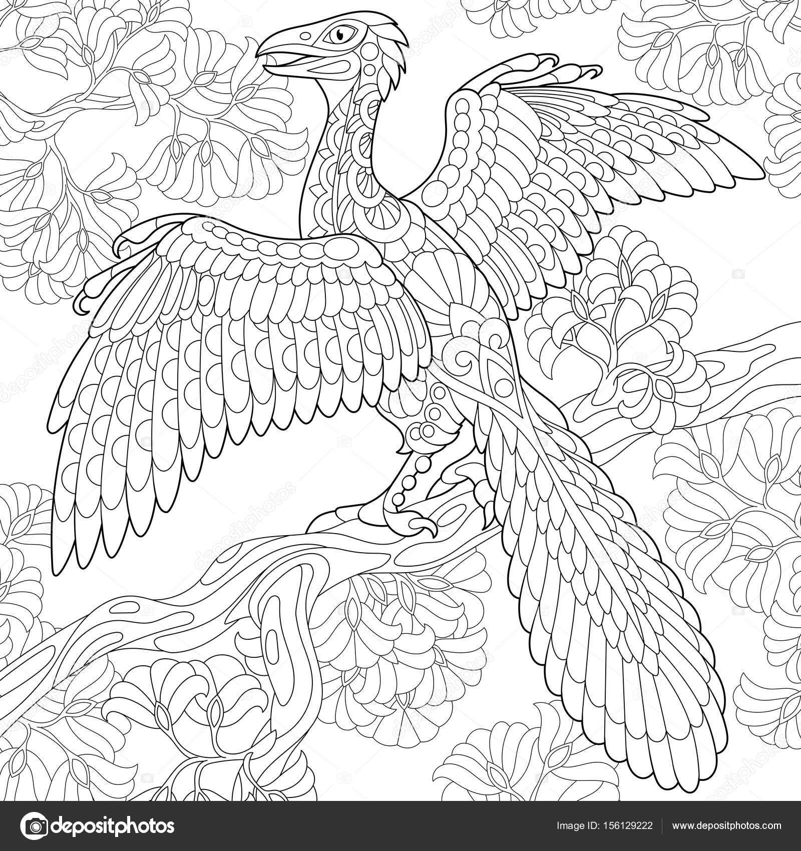 1600x1700 Zentangle Archeopteryx Dinosaur Stock Vector Sybirko