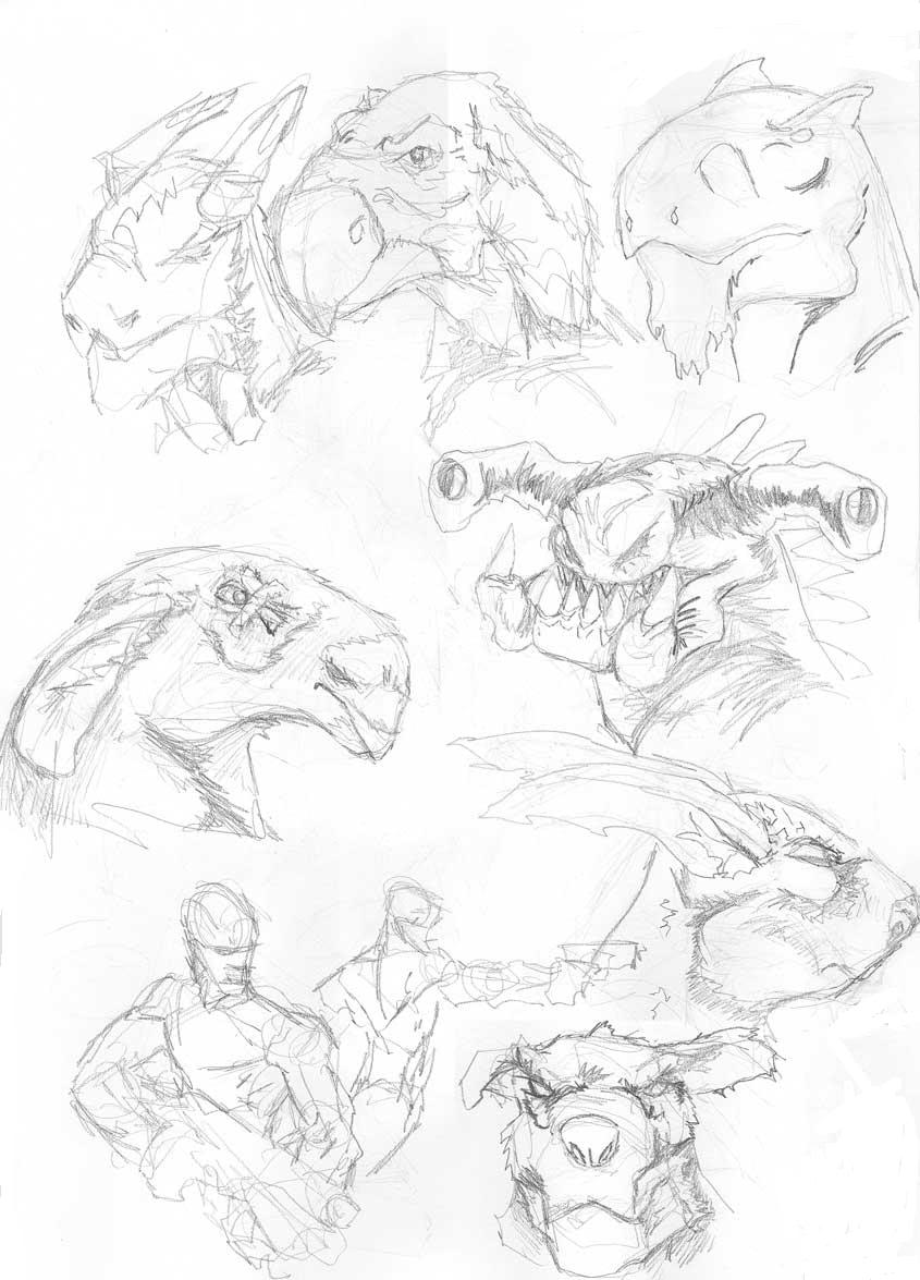 845x1175 Dinosaur, Creature Heads And Such Sketches