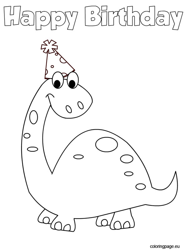 595x804 Dinosaur Happy Birthday Coloring Page