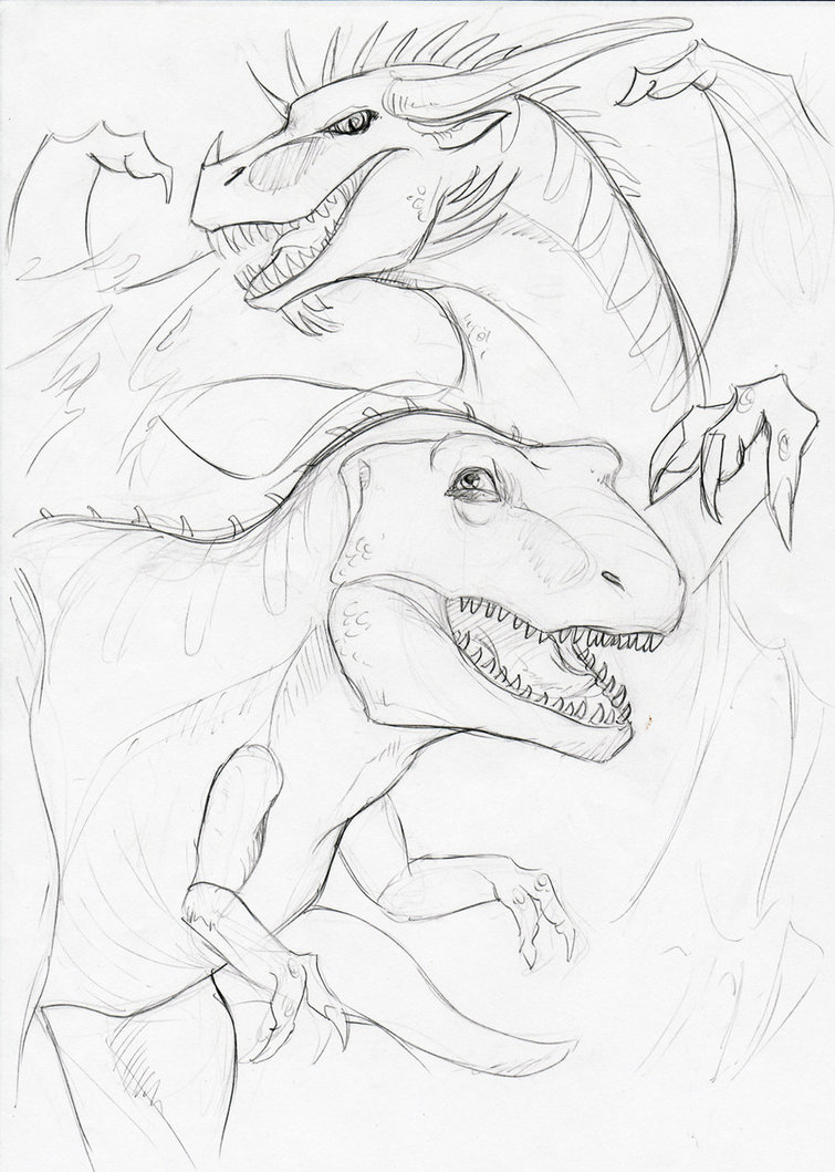 755x1059 Dinosaur Meets Dragon By Winterblueart