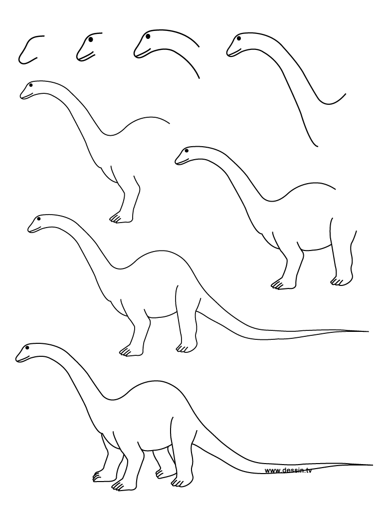 768x1024 Dinosaurs Drawing Step Step