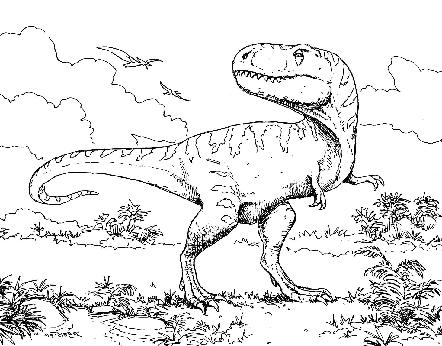 Dinosaur Line Drawing at GetDrawings.com | Free for personal use ...